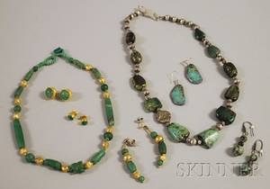 Group of Green Hardstone Jewelry
