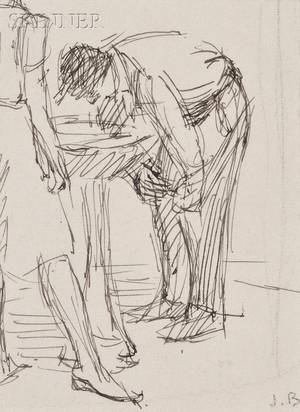 Isabel Bishop American 19021988 Lot of Three Studies of Figures at a Drinking Fountain