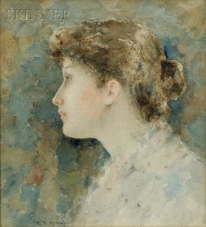 Clement Rollins Grant American 18481893 Portrait of a Young Woman in Profile