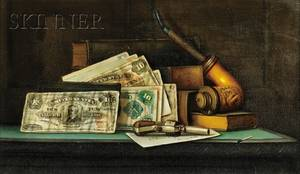 Charles Alfred Meurer American 18651955 Trompe lOeil Still Life with Currency Pipe and Pistol