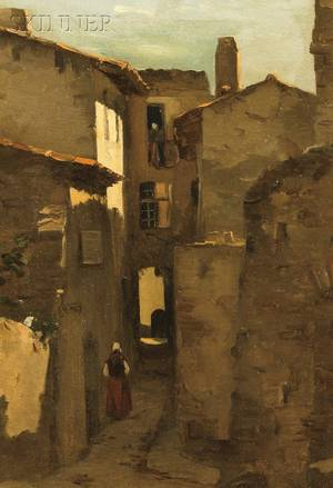 Attributed to George William Whitaker American 18401916 View with a Figure in a Cobbled Alley