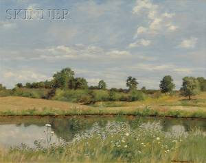 Charles Albert Burlingame American 18601930 View of a Pond on a Breezy Day