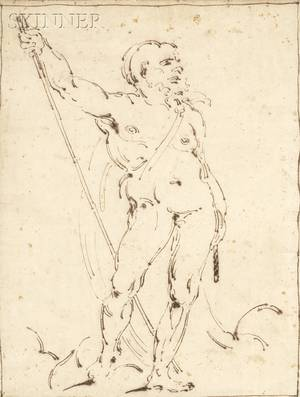 Italian School 18th19th Century Figure Study of Male Nude with Staff
