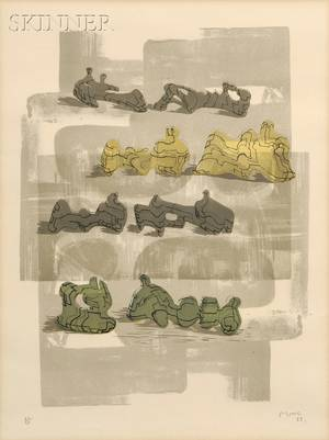 Henry Moore British 18981986 Eight Reclining Figures with Architectural Background