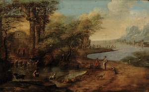 Italian School 18th19th Century Style View of Figures in a Classical Landscape