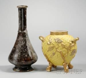 Royal Worcester Porcelain Drip Glazed Footed Bottleform Vase and Gilt Decorated Yellow Ground Footed Vase