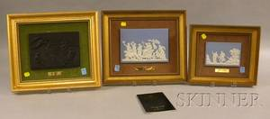 Two Framed Wedgwood Solid Light Blue Jasper Plaques and a Black Basalt Plaque