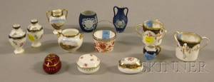 Thirteen Miniature and Small Wedgwood Decorated Porcelain and Jasper Items