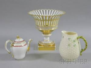 Paris Porcelain Gilt Decorated Openwork Compote Demitasse Pot and a Belleek Porcelain Jug