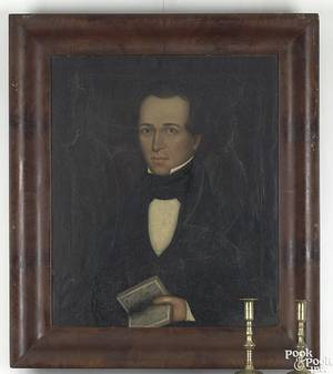 New England oil on canvas portrait of a gentleman ca 1845