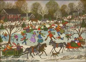Framed Oil on Canvas Winter Scene with Ice Skaters on a Pond by Jo Sickbert American b 1931