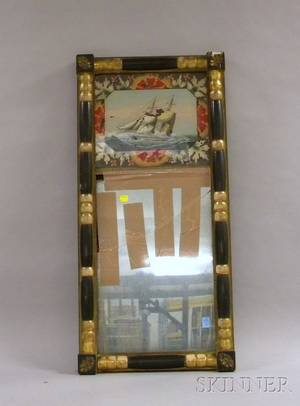 Federal Giltwood and Partebonized Splitbaluster Mirror with Reversepainted Glass Tablet Depicting a Sailing Ship