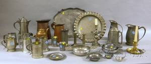 Thirtyfive Pieces of Pewter Brass and Copper Tableware and Other Items