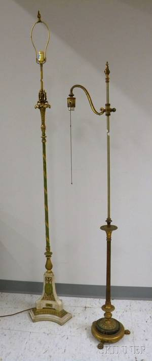 Two Neoclassical Gilt and Painted Brass and Marble Floor Lamps