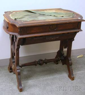 Victorian Renaissance Revival Carved Walnut Sewing Table