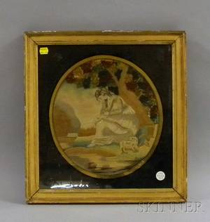 Giltwood Framed 19th Century English Silk Needlework and Painted Panel Mariahs Journey