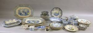 Large Group of Mostly Blue and White English Transferware