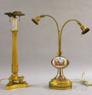 Empirestyle Giltbronze Table Lamp and a Frenchstyle Porcelainmounted Giltbronze TwoLight Table Lamp