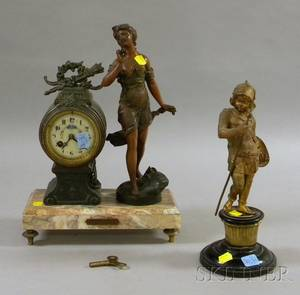 Patinated Cast Metal Figural Mantel Clock with Marble Base and a Giltbronze Figure of a European Young Warrior