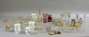 Thirtyseven Pieces of Assorted 19th Century Bohemian Decorated Glassware