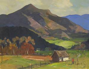 American School 20th Century Landscape with Figure by a Path