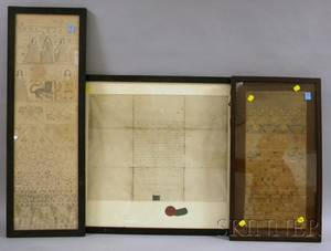 Framed 1735 Needlework Sampler and a Framed 18th Century Boston Fraternal Ink on Vellum Document with Seal