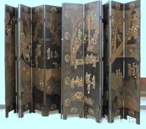 Large Chinese Export Coromandel Figural and Scenic Decorated TwelvePanel Floor Screen