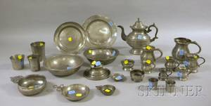 Twentyfour Pieces of Assorted Pewter Hollowware