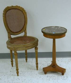 French Empirestyle Brassmounted Marbletop Mahogany Stand and a Louis XVI Style Goldpainted Carved Wood Side