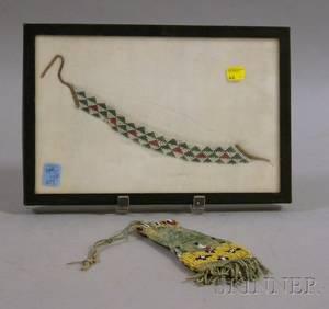 Native American Beaded Hide Bag and a Beaded Bracelet