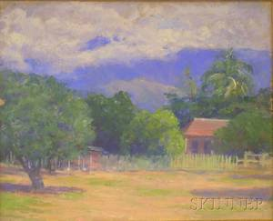 Framed Oil on Canvas Landscape by Isabelle H Ferry American 18651937