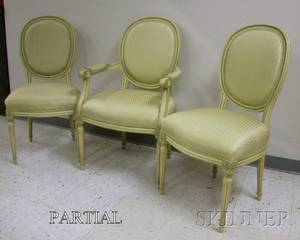 Set of Eight Louis XVI Style Upholstered Painted Carved Wooden Chairs