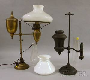 Patinated Bronze Student Lamp and a Bradley  Hubbard Brass Student Lamp