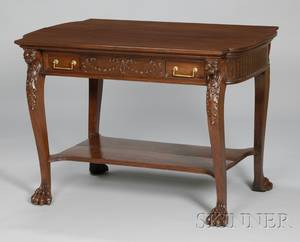 Late Victorian Carved Mahogany Library Table with Long Drawer