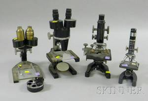 Four Compound Microscopes by Various Makers