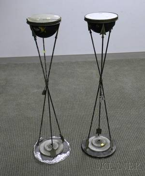 Pair of Frenchstyle Neoclassical Mirrortop Painted Metal Stands