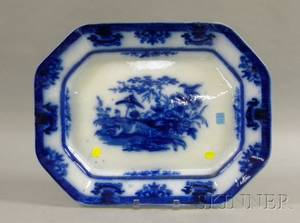Large Davenport Flow Blue Amoy Pattern Ironstone Platter
