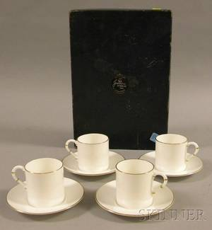 Set of Four Boxed Royal Worcester Bone China Cups and Saucers