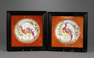 Pair of Framed Staffordshire Earthenware Handpainted Plates