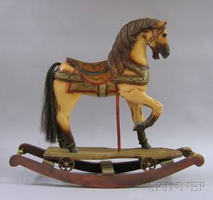 Reproduction Carved and Paint Decorated Wood RidingRocking Horse