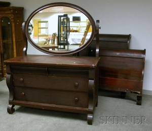 Empirestyle Mahogany Veneer Mirrored Dresser and a Pair of Sleigh Twin Beds