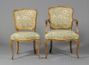 Set of Six Louis XV Style Beechwood Dining Chairs