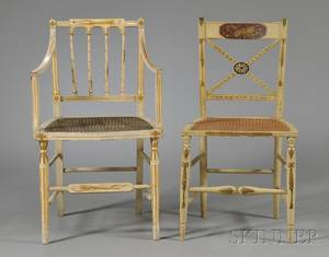 Harlequin Set of Eight Fancy Painted and Parcelgilt Caned Seat Dining Chairs
