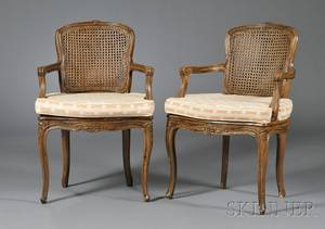 Pair of Louis XV Style Beechwood and Caned Open Armchairs