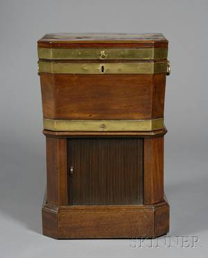 George III Mahogany and Brassbound Cellarette on Stand