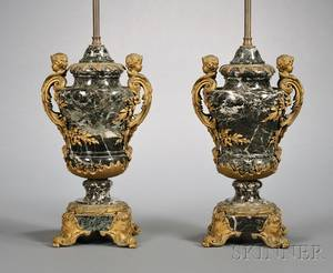 Pair of Louis XV Style Giltbronze Mounted Verte Antico Marble Urns Mounted as Lamps