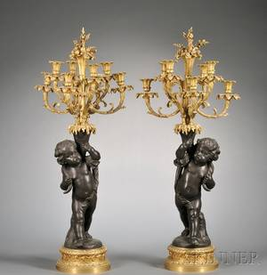 Pair of Large Louis XV Style Parcelgilt and Patinated Bronze EightLight Candelabra