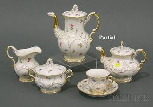 Meissen Painted and Parcelgilt Porcelain Tea and Coffee Service for Twelve