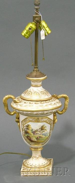 Crown Derby Painted and Parcelgilt Porcelain Topographical Urnform Lamp