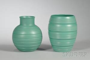 Two Wedgwood Keith Murray Green Slip Decorated Ornamental Vases